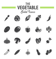 Vegetable solid icon set food symbols collection vector