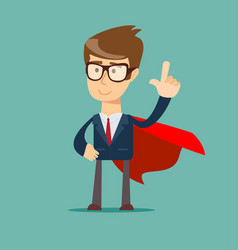 young man in a business suit and red cape vector image