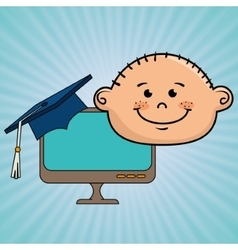 student boy laptop idea graduation vector image