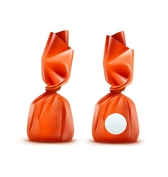 Chocolate candy in orange wrapper on background vector