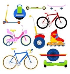 Modern City Transportation Set with Bikes vector image