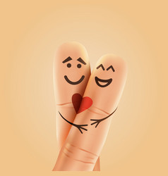 finger couple in love with painted smiley and vector image