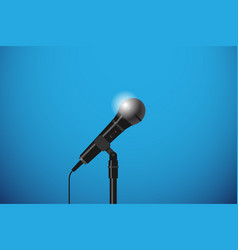 Microphone with floor stand vector