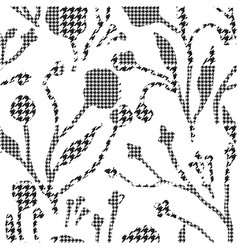 Abstract flowers with hounds-tooth plaid pattern vector