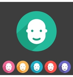 User avatar face profile flat icon vector