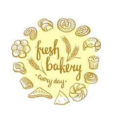 Set of bakery icons bread cookies cake pie bakery vector
