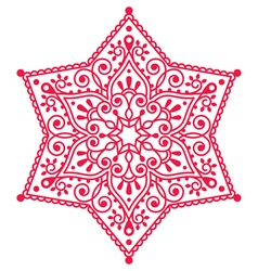 Christmas red snowflake lace design vector