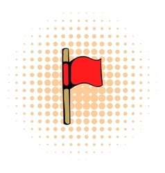 Red flag icon comics style vector