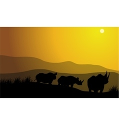 Silhouette of rhinoceros africa hill vector