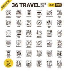 Travel pixel perfect icons vector