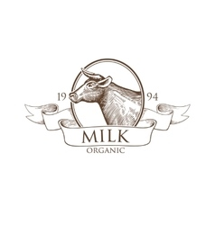 Logo cow silhouette with ribbons grunge label for vector