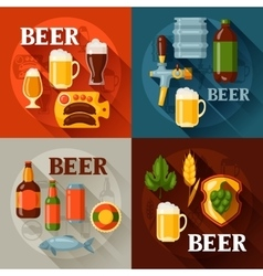 Backgrounds design with beer icons and objects vector