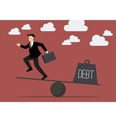Balancing businessman and debt vector