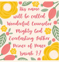 Bible quote from isaiah about jesus for christmas vector