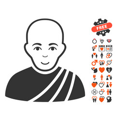 Buddhist monk icon with lovely bonus vector