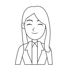 business icon young beautiful woman cartoon vector image