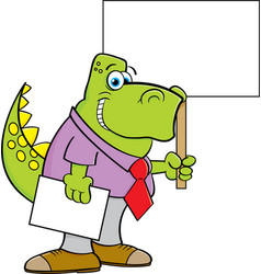Cartoon dinosaur wearing a tie and holding a sign vector
