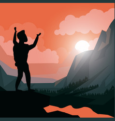 Colorful sunset landscape of climber man vector