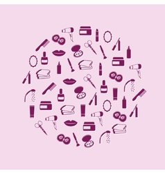 Cosmetics icons in circle vector