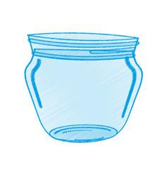 Drawing glass jar utensil vector