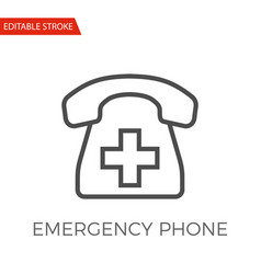 emergency phone icon vector image vector image