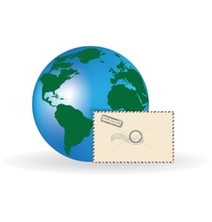 Envelope and globe vector image vector image