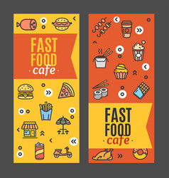 fastfood and street food flyer banner posters card vector image vector image