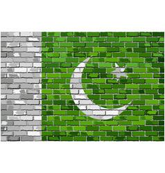 Flag of pakistan on a brick wall vector