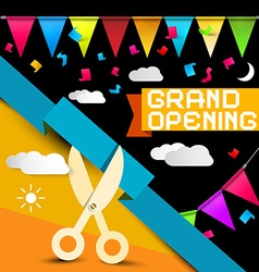 Grand opening - flags with confetti - scissors vector