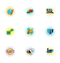 Hacking icons set pop-art style vector