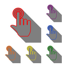 Hand click on button set of red orange yellow vector