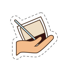Hand holding cocktail glass cup vector