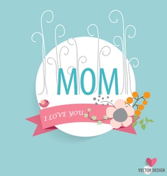 Happy Motherss Day heart paper with floral vector image