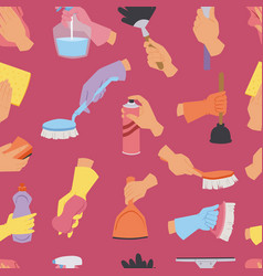 house cleaning tools seamless pattern background vector image vector image