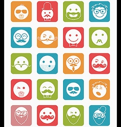 icon set 20 mans faces color square vector image