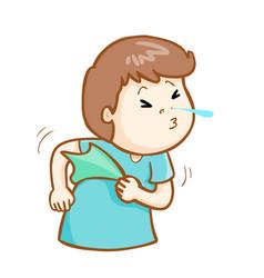 Ill man sneezing cartoon vector