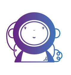 line boy astronaut with equipmen helmet vector image