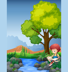 Little boy reading book by the river vector