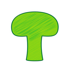 Mushroom simple sign lemon scribble icon vector