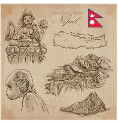 Nepal - pictures of life travel collection hand vector