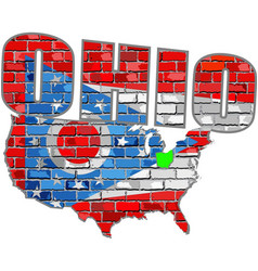 Ohio on a brick wall vector
