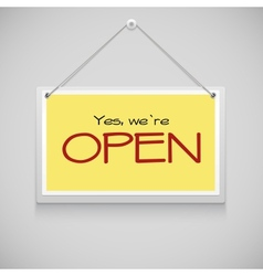 Open hanging sign vector