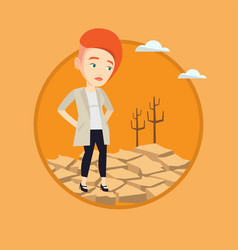 Sad woman in the desert vector