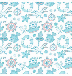 seamless baby background with sea vector image