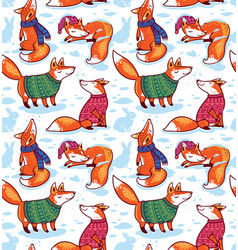 Seamless pattern with cute foxes in sweaters vector