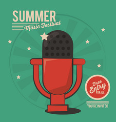 Summer music festival microphone vintage vector
