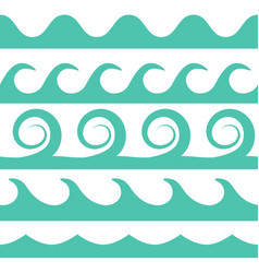 turquoise waves set on white background vector image