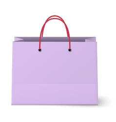 Violet shopping paper bag isolated on white vector