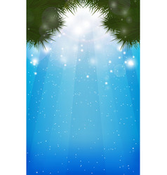 winter blurred background with christmas-tree vector image