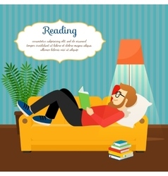 Young man reading book on sofa vector